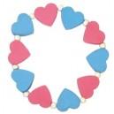 Náramek dětský-srdíčka modrorůžová